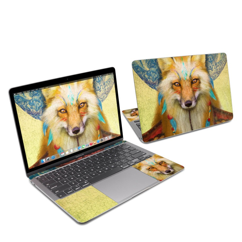 MacBook Air 13-inch Skin design of Red fox, Canidae, Fox, Wildlife, Swift fox, Carnivore, Jackal, Fur, Snout, Art with red, black, gray, green, blue colors