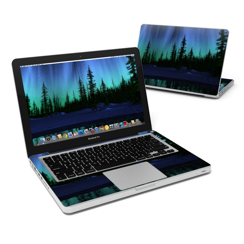 MacBook Pro Pre 2012 13-inch Skin design of Aurora, Nature, Sky, shortleaf black spruce, Natural landscape, Tree, Wilderness, Natural environment, Biome, Spruce-fir forest with blue, purple, green, black colors