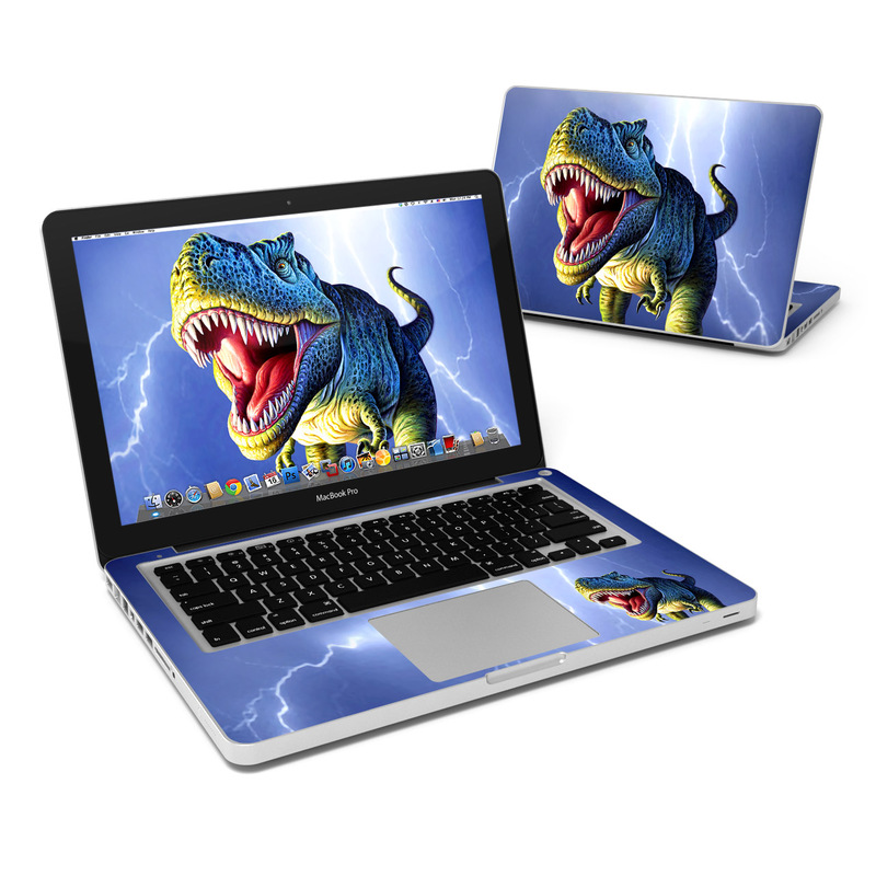 MacBook Pro Pre 2012 13-inch Skin design of Dinosaur, Extinction, Tyrannosaurus, Velociraptor, Tooth, Jaw, Organism, Mouth, Fictional character, Art with blue, green, yellow, orange, red colors