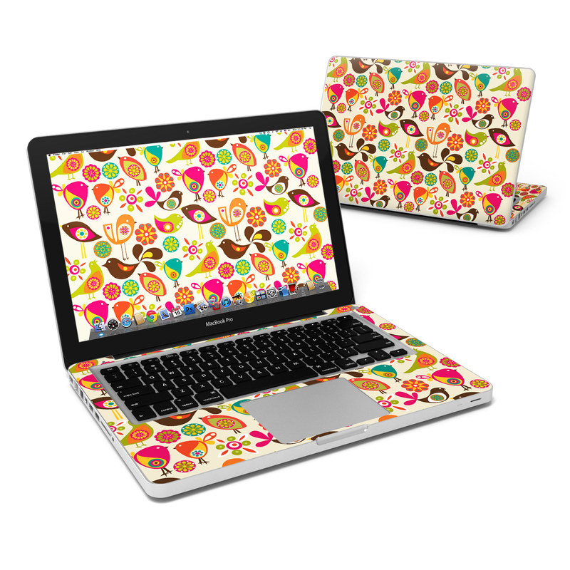 MacBook Pro Pre 2012 13-inch Skin design of Pattern, Visual arts, Wrapping paper, Design, Clip art, Textile, Motif, Sticker, Graphics with yellow, pink, orange, green, brown, blue colors