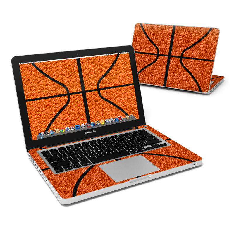 MacBook Pro Pre 2012 13-inch Skin design of Orange, Basketball, Line, Pattern, Sport venue, Brown, Yellow, Design, Net, Team sport with orange, black colors