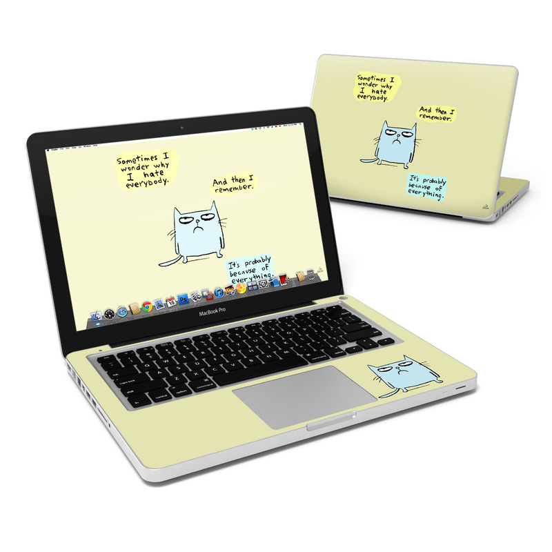 MacBook Pro Pre 2012 13-inch Skin design of Cartoon, Facial expression, Text, Cat, Whiskers, Photo caption, Snout, Line, Font, Organism with blue, green, yellow colors