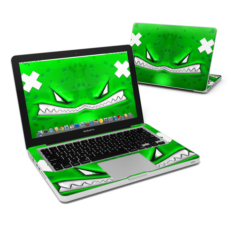 MacBook Pro Pre 2012 13-inch Skin design of Green, Font, Animation, Logo, Graphics, Games with green, white colors