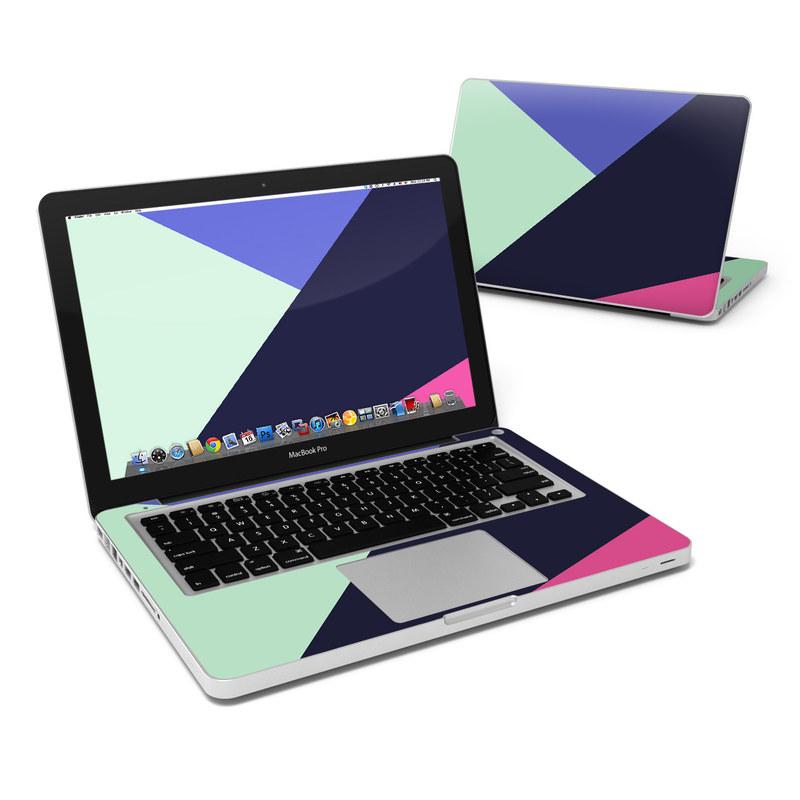 MacBook Pro Pre 2012 13-inch Skin design of Purple, Violet, Line, Magenta, Graphic design, Triangle, Pattern, Design, Material property, Font with black, blue, green, pink colors