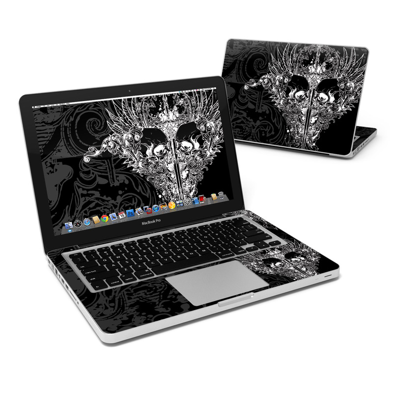 MacBook Pro Pre 2012 13-inch Skin design of Illustration, Art, Design, Monochrome, Graphic design, Pattern, Fictional character, Skull, Black-and-white, Graphics with black, gray colors