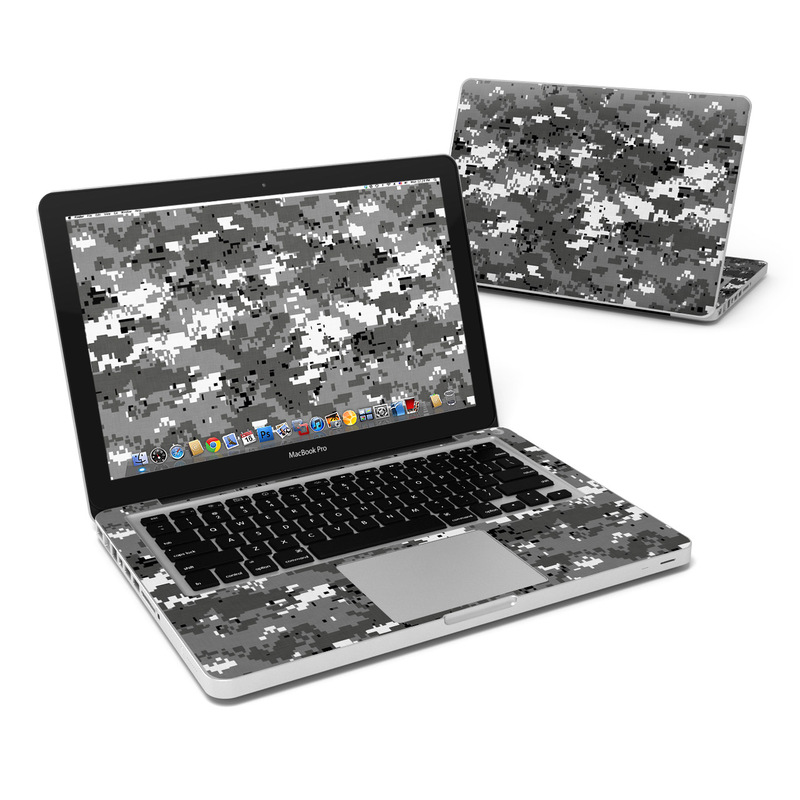 MacBook Pro Pre 2012 13-inch Skin design of Military camouflage, Pattern, Camouflage, Design, Uniform, Metal, Black-and-white with black, gray colors