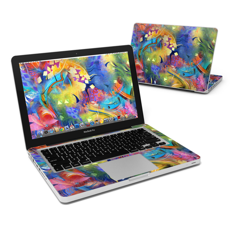 MacBook Pro Pre 2012 13-inch Skin design of Painting, Modern art, Acrylic paint, Art, Psychedelic art, Visual arts, Watercolor paint, Paint, Graphic design, Graffiti with green, blue, red, black, gray colors