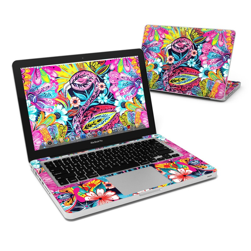 MacBook Pro Pre 2012 13-inch Skin design of Psychedelic art, Pattern, Visual arts, Art, Design, Textile, Illustration, Plant, Graphic design, Drawing with pink, yellow, black, blue, white colors