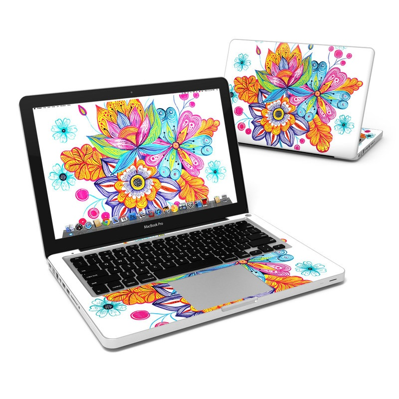 MacBook Pro Pre 2012 13-inch Skin design of Botany, Clip art, Illustration, Plant, Visual arts, Flower, Pattern, Line art, Graphics, Coloring book with white, pink, blue, yellow, red, purple colors