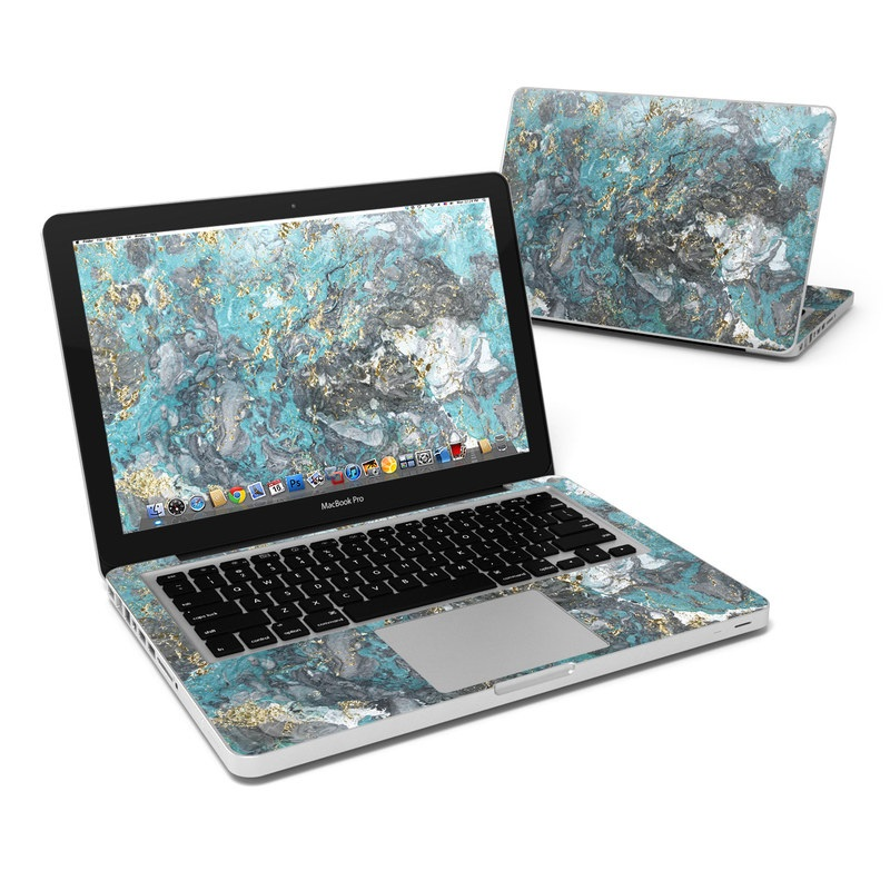MacBook Pro Pre 2012 13-inch Skin design of Blue, Turquoise, Green, Aqua, Teal, Geology, Rock, Painting, Pattern with black, white, gray, green, blue colors