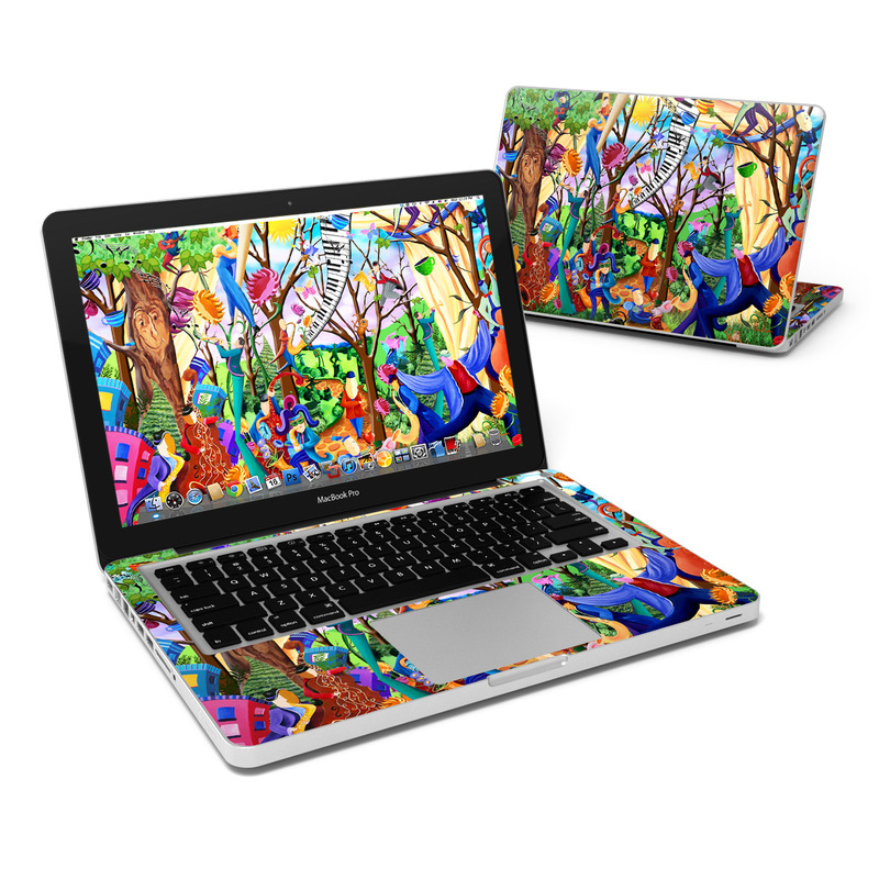 MacBook Pro Pre 2012 13-inch Skin design of Modern art, Art, Mural, Painting, Psychedelic art, Visual arts, Tree, Child art, Organism, Plant with black, gray, red, green, blue colors