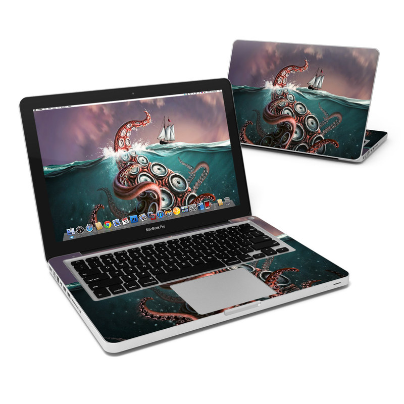 MacBook Pro Pre 2012 13-inch Skin design of Octopus, Water, Illustration, Wind wave, Sky, Graphic design, Organism, Cephalopod, Cg artwork, giant pacific octopus with blue, gray, white, brown, red colors