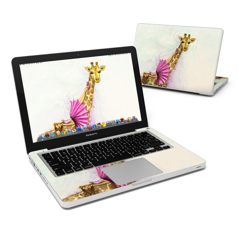 MacBook Pro Pre 2012 13-inch Skin design of Giraffe, Giraffidae, Terrestrial animal, Pink, Wildlife, Snout, Fawn, Illustration, Watercolor paint, Magenta with blue, brown, orange, pink colors