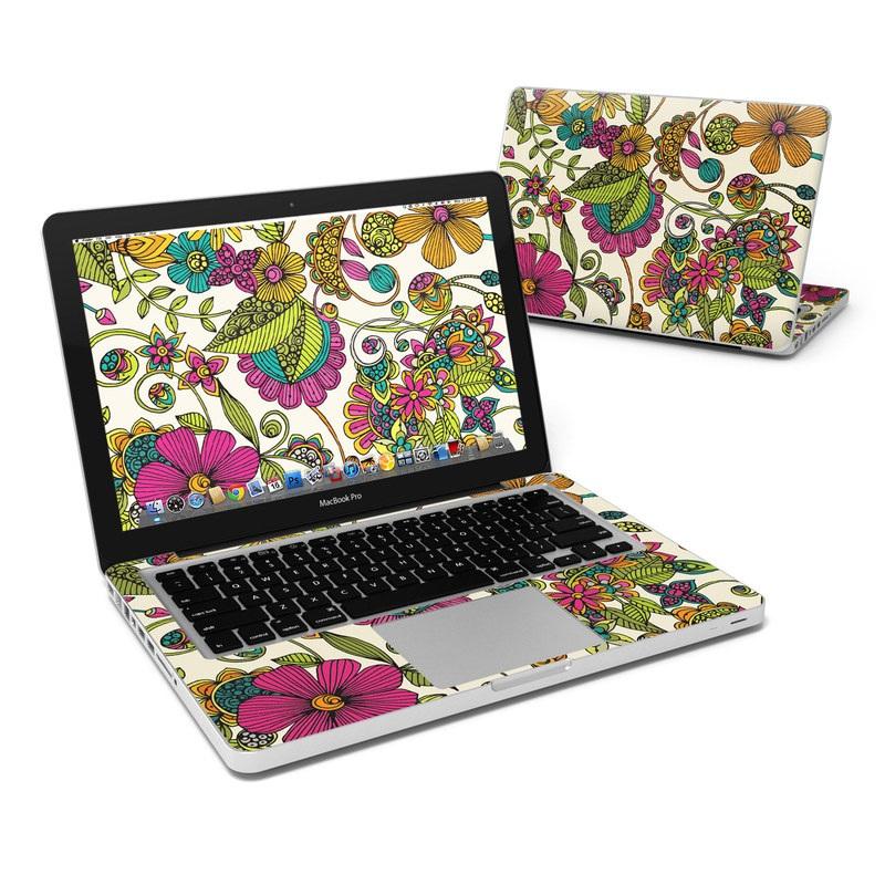 MacBook Pro Pre 2012 13-inch Skin design of Pattern, Floral design, Motif, Design, Visual arts, Botany, Pedicel, Flower, Plant, Textile with green, pink, orange, blue colors