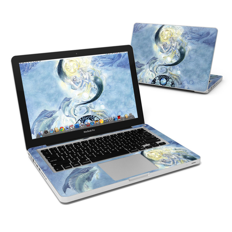MacBook Pro Pre 2012 13-inch Skin design of Illustration, Cg artwork, Art, Watercolor paint, Fictional character, Mythology, Painting, Graphic design, Space, Graphics with gray, blue, black colors