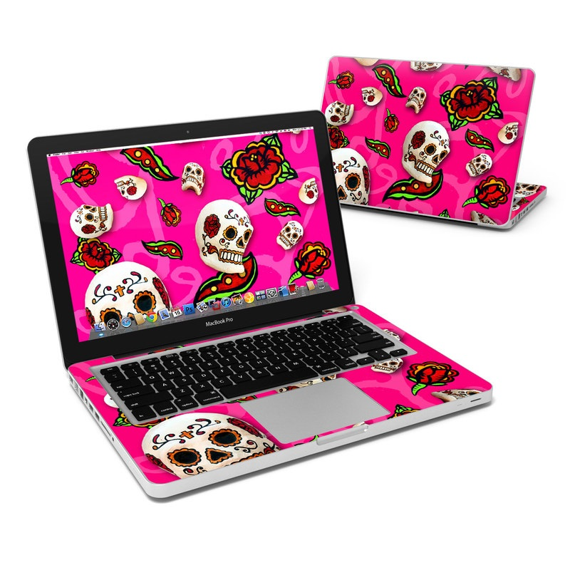 MacBook Pro Pre 2012 13-inch Skin design of Skull, Bone, Pink, Font, Pattern, Illustration with pink, black, red, gray, purple colors