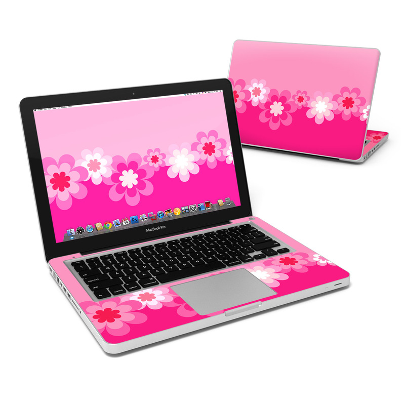 Retro Pink Flowers MacBook Pro 13-inch Skin
