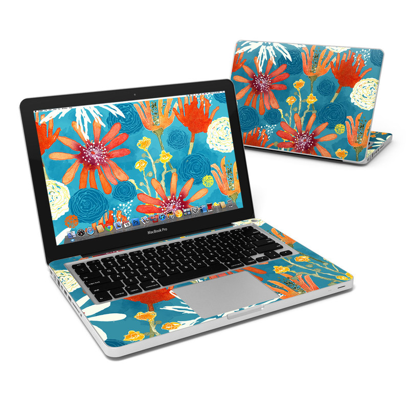MacBook Pro Pre 2012 13-inch Skin design of Pattern, Visual arts, Wrapping paper, Design, Wildflower, Floral design, Textile, Flower, Plant, Motif with blue, red, gray, yellow, green colors