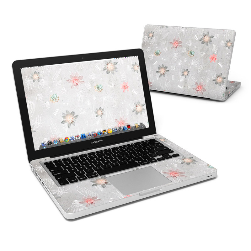 MacBook Pro Pre 2012 13-inch Skin design of Pink, Pattern, Wrapping paper, Textile, Design, Wallpaper, Floral design, Plant, Flower with gray, red, white, pink colors