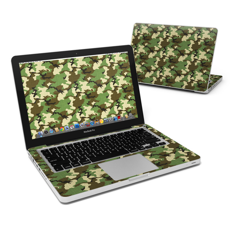 MacBook Pro Pre 2012 13-inch Skin design of Military camouflage, Camouflage, Clothing, Pattern, Green, Uniform, Military uniform, Design, Sportswear, Plane with black, gray, green colors