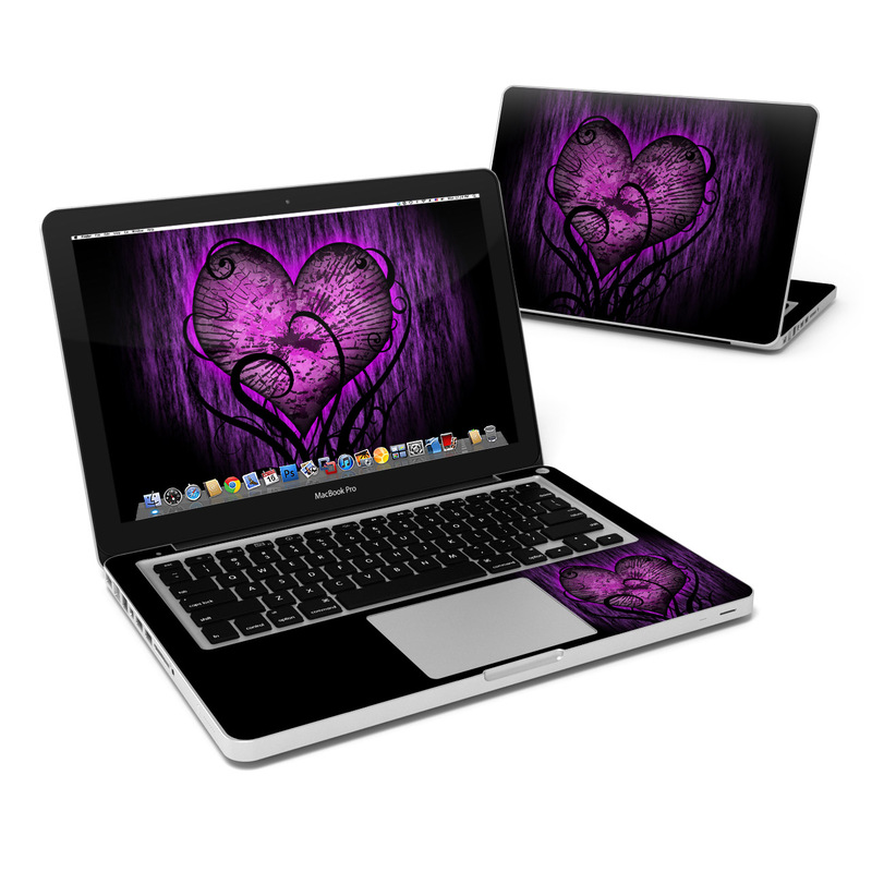 MacBook Pro Pre 2012 13-inch Skin design of Purple, Heart, Violet, Pink, Red, Love, Organ, Magenta, Human body with black, purple, blue colors