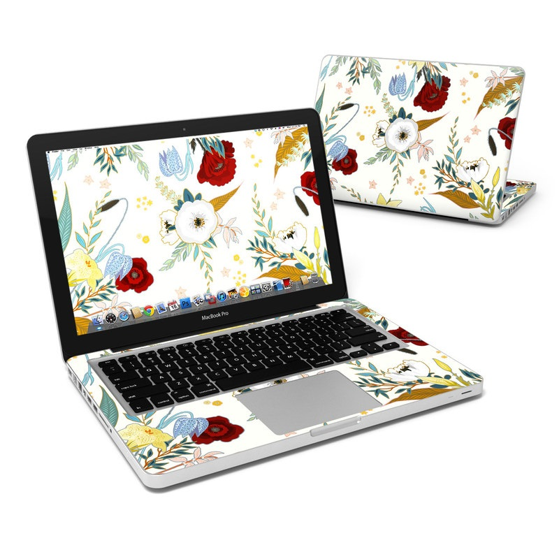 MacBook Pro Pre 2012 13-inch Skin design of Floral design, Pattern, Wrapping paper, Botany, Design, Flower, Wallpaper, Plant, Clip art, Pedicel with white, blue, red, yellow, pink, orange colors