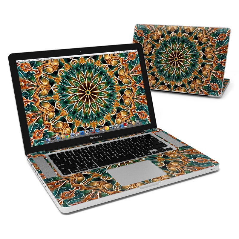 MacBook Pro Pre 2012 15-inch Skin design of Pattern, Symmetry, Textile, Art, Psychedelic art, Tapestry, Design, Visual arts, Kaleidoscope, Motif with green, orange, yellow, brown, red colors