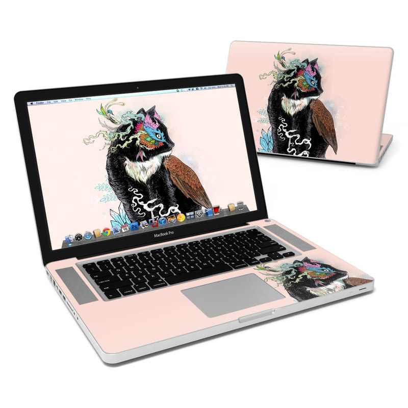 MacBook Pro Pre 2012 15-inch Skin design of Illustration, Owl, Art, Graphic design, Cat, Tail with pink, black, brown, red, green colors