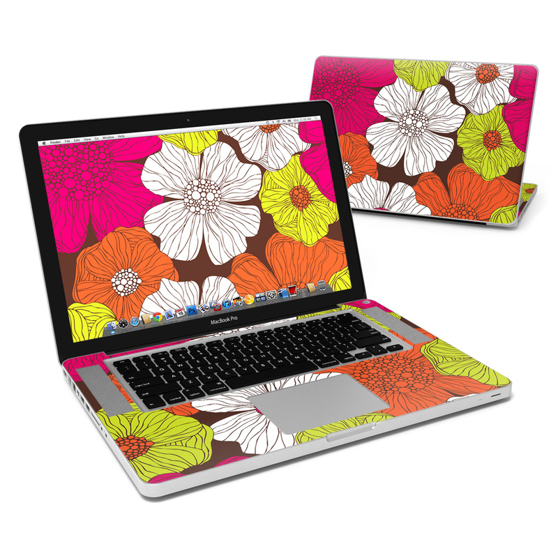 MacBook Pro Pre 2012 15-inch Skin design of Flower, Floral design, Pattern, Plant, Botany, Design, Petal, Textile, Visual arts, Wildflower with brown, orange, pink, white, green colors