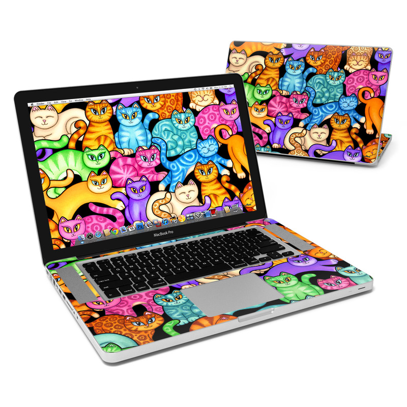 MacBook Pro Pre 2012 15-inch Skin design of Cat, Cartoon, Felidae, Organism, Small to medium-sized cats, Illustration, Animated cartoon, Wildlife, Kitten, Art with black, blue, red, purple, green, brown colors