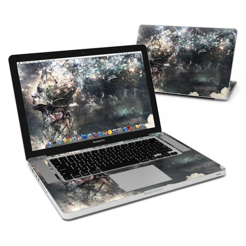 MacBook Pro Pre 2012 15-inch Skin design of Space, Cg artwork, Art, Sky, Darkness, Illustration, Graphic design, Outer space, Graphics, Animation with white, black, gray, yellow colors