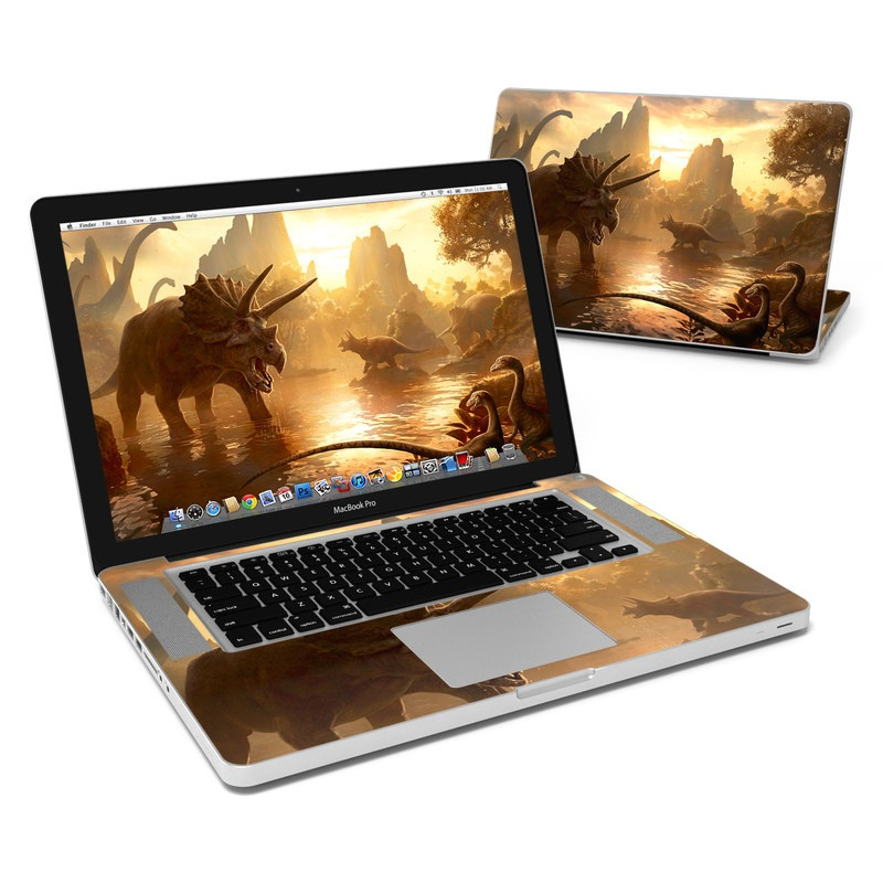 MacBook Pro Pre 2012 15-inch Skin design of Dinosaur, Sky, Cg artwork, Triceratops, Horn, Extinction, Illustration, Wildlife, Mythology, Massively multiplayer online role-playing game with black, green, red, pink, yellow, gray colors