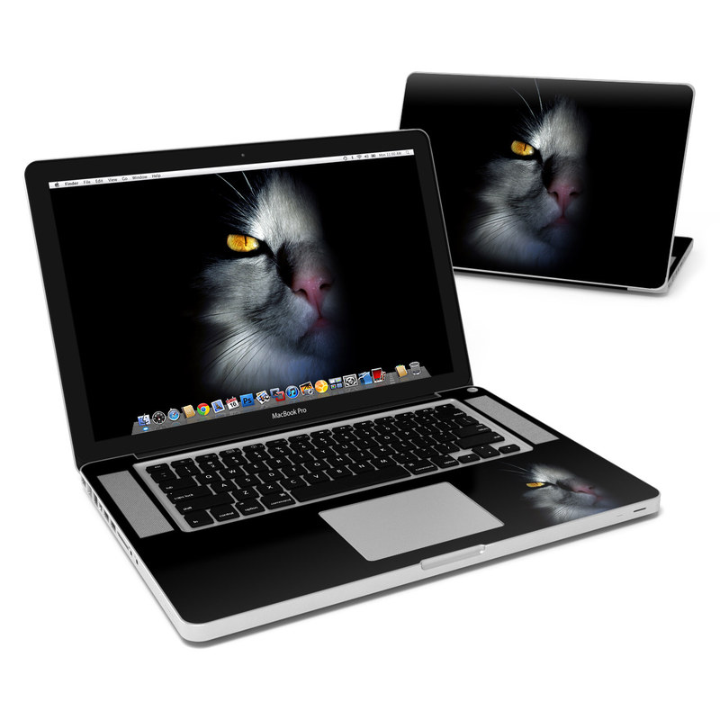 MacBook Pro Pre 2012 15-inch Skin design of Cat, Whiskers, Small to medium-sized cats, Felidae, Black, Nose, Darkness, Snout, Eye, Carnivore with black, gray colors