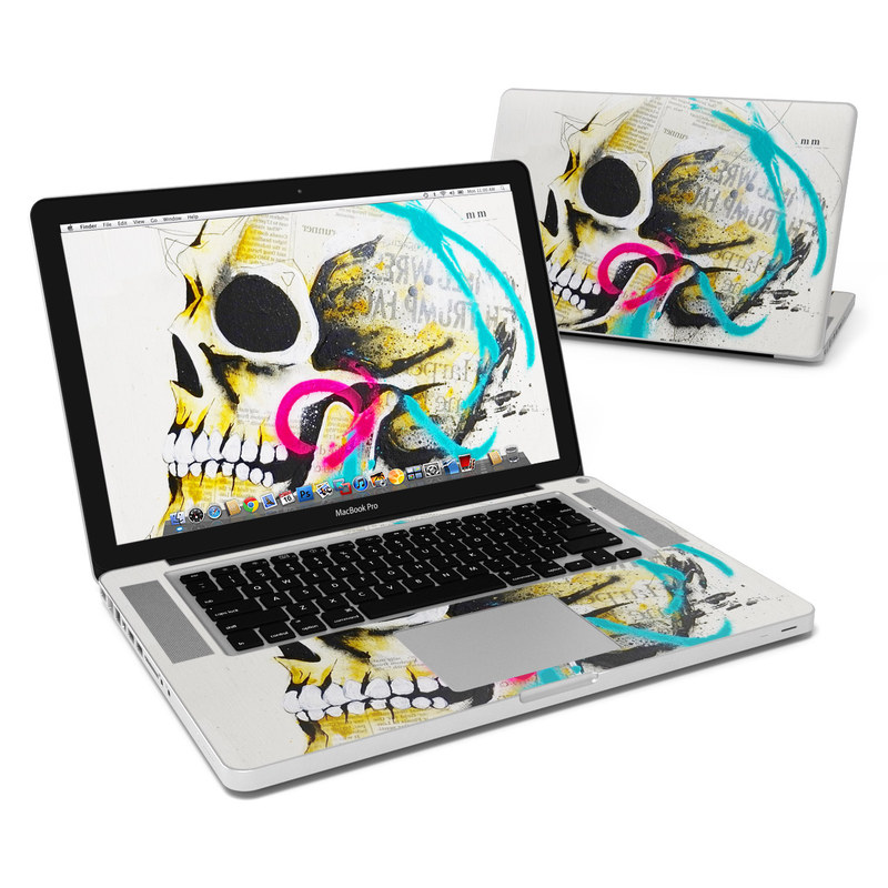 MacBook Pro Pre 2012 15-inch Skin design of Graphic design, Skull, Illustration, Art, Bone, Drawing, Visual arts, Font, Modern art, Street art with blue, pink, yellow, black colors