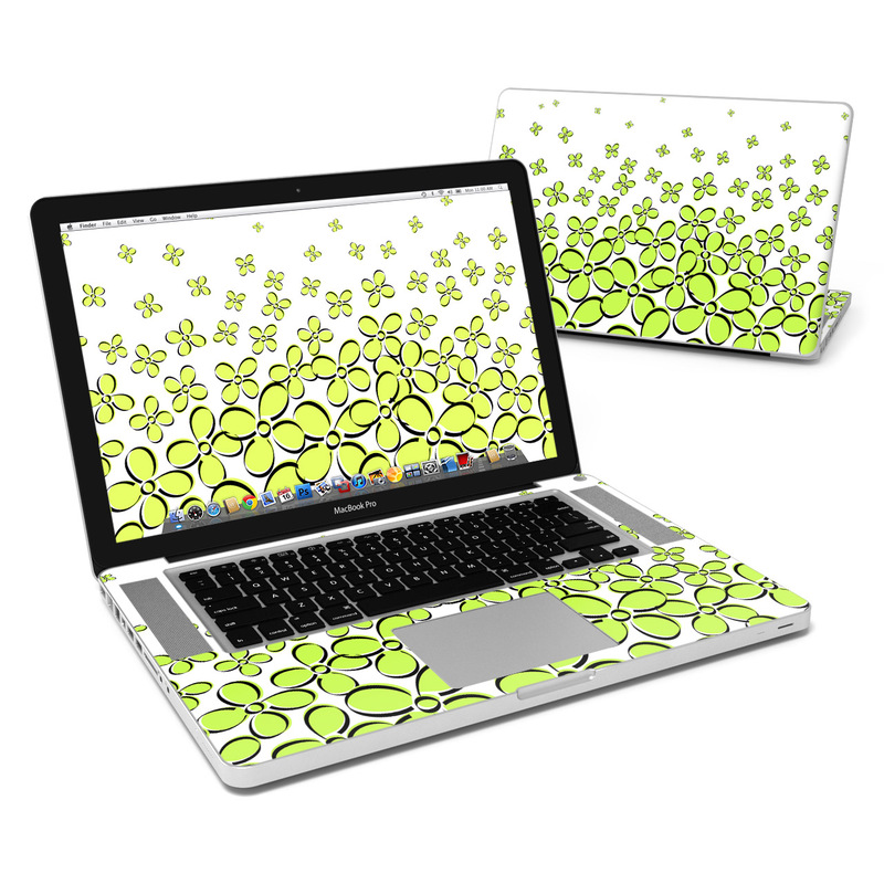 MacBook Pro Pre 2012 15-inch Skin design of Green, Leaf, Pattern, Yellow, Line, Plant, Design, Circle with white, green, gray, black colors