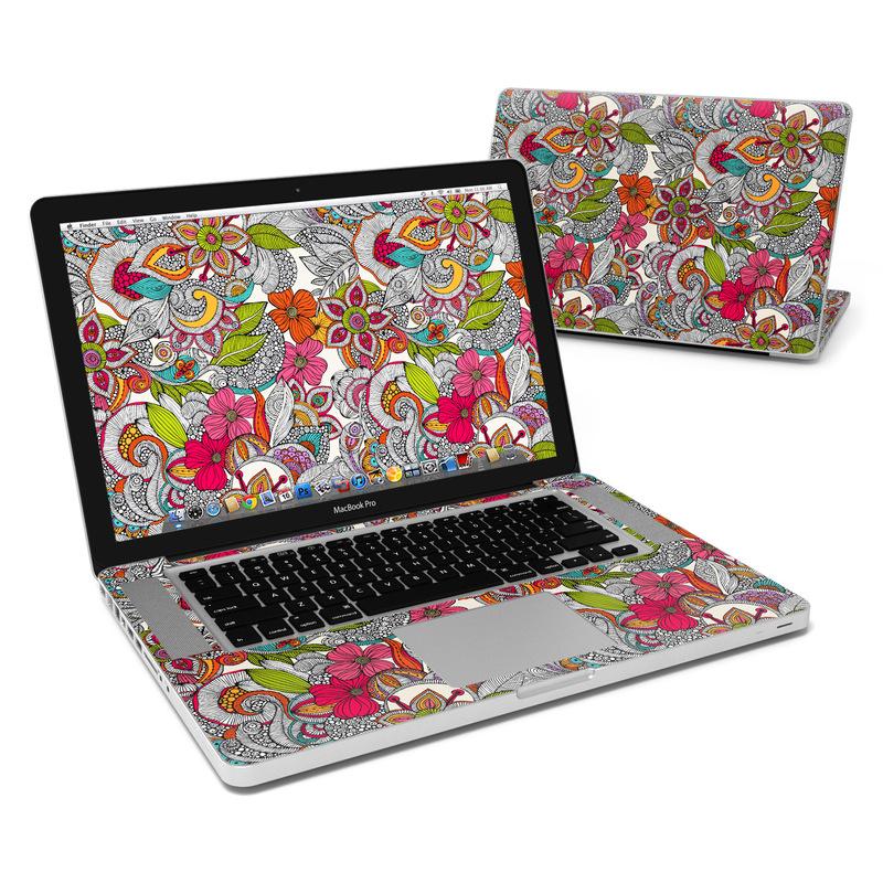 MacBook Pro Pre 2012 15-inch Skin design of Pattern, Drawing, Visual arts, Art, Design, Doodle, Floral design, Motif, Illustration, Textile with gray, red, black, green, purple, blue colors
