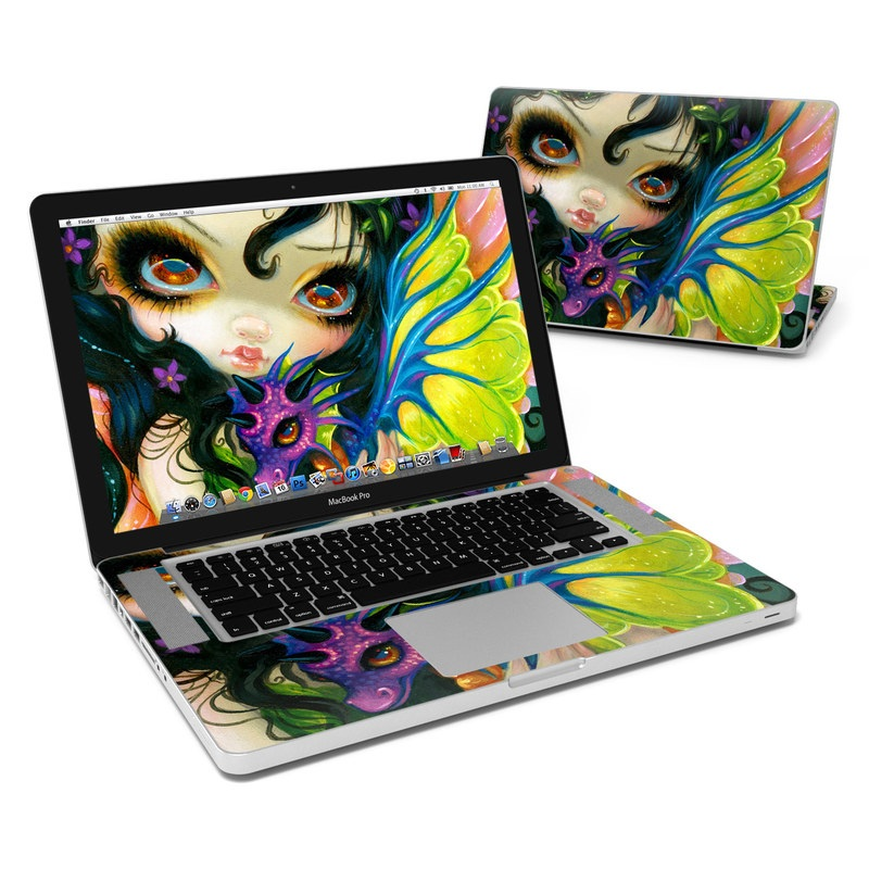 MacBook Pro Pre 2012 15-inch Skin design of Face, Head, Illustration, Art, Fictional character, Painting, Visual arts, Wing, Psychedelic art with black, green, gray, red, blue colors