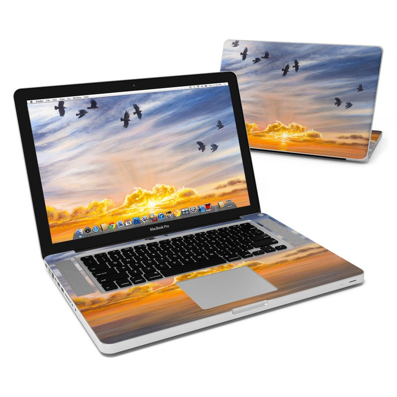 MacBook Pro Pre 2012 15-inch Skin design of Sky, Cloud, Nature, Blue, Daytime, Atmosphere, Sunset, Afterglow, Evening, Horizon with black, blue, yellow, orange, white colors