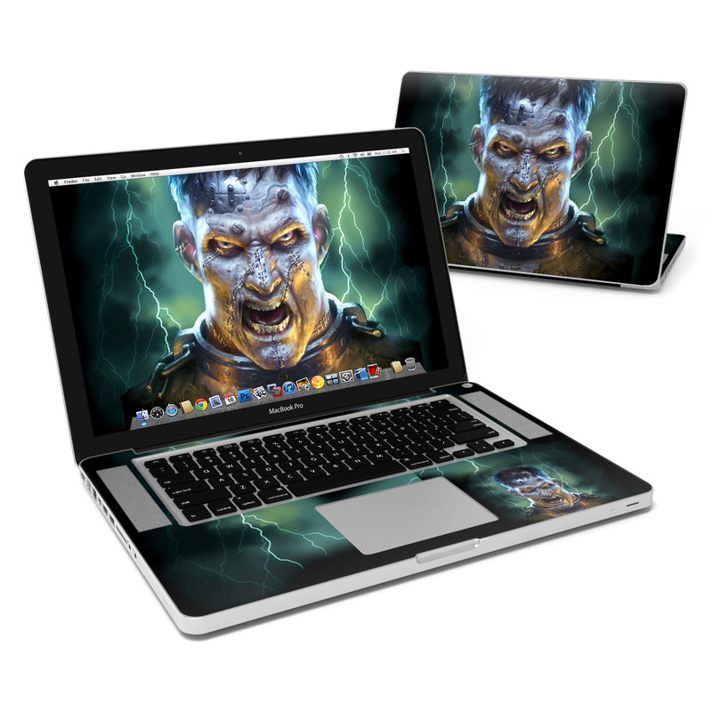 MacBook Pro Pre 2012 15-inch Skin design of Fictional character, Illustration, Human, Art, Darkness, Jaw, Movie, Fiction with black, yellow, white, green, orange colors