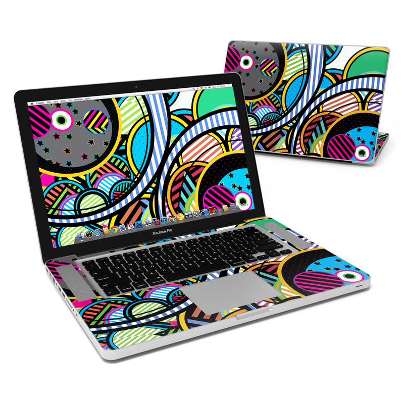 MacBook Pro Pre 2012 15-inch Skin design of Psychedelic art, Pattern, Line, Graphic design, Visual arts, Design, Art, Illustration, Circle, Graphics with black, blue, green, white, gray, red colors