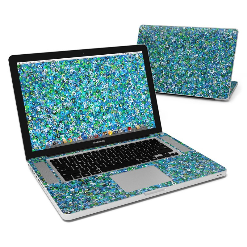 MacBook Pro Pre 2012 15-inch Skin design of Blue, Plant, Glitter with blue, green, white colors
