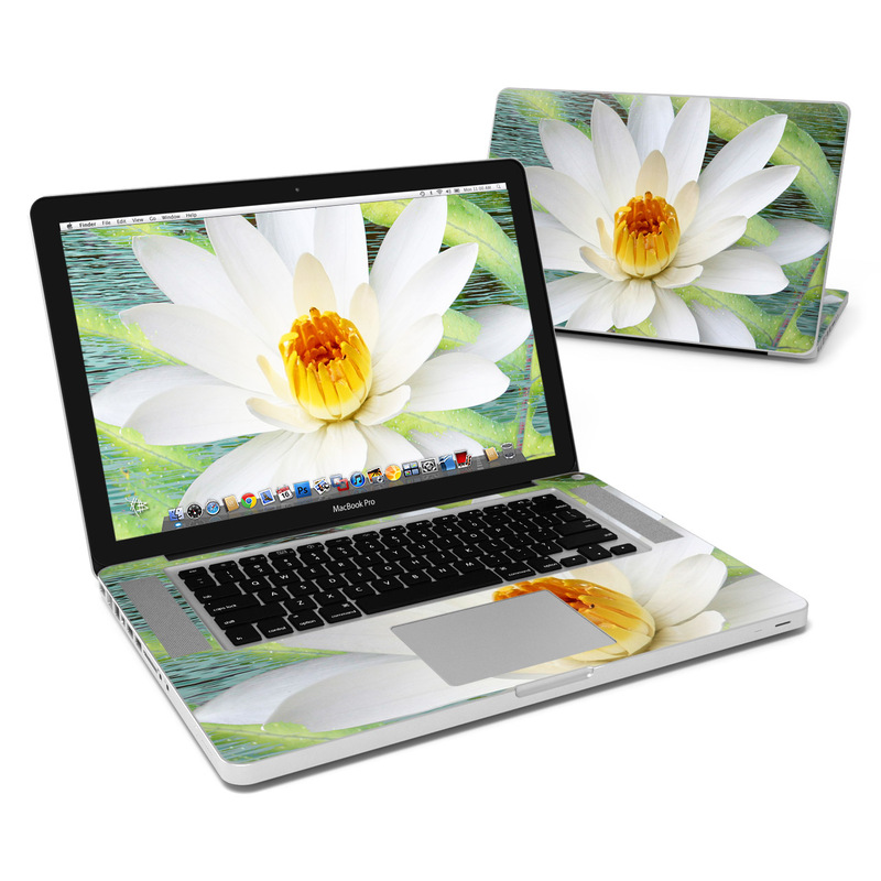 MacBook Pro Pre 2012 15-inch Skin design of fragrant white water lily, Petal, Flower, White, Aquatic plant, Sacred lotus, Lotus, Lotus family, water lily, Plant with gray, green, black, blue, purple colors