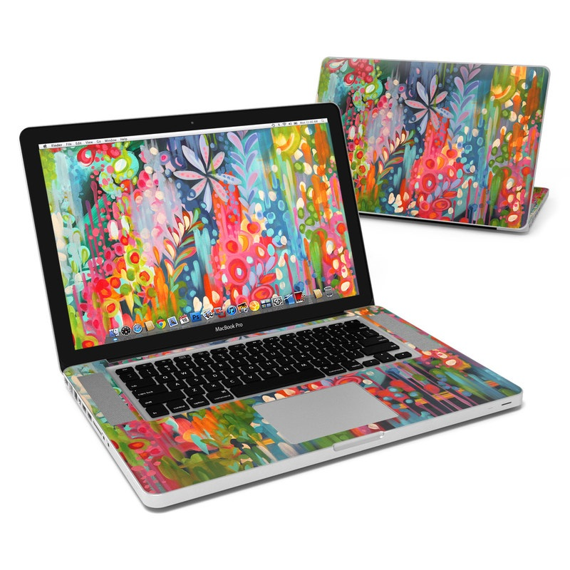MacBook Pro Pre 2012 15-inch Skin design of Painting, Modern art, Acrylic paint, Art, Visual arts, Watercolor paint, Child art, Flower, Plant, Tree with blue, red, orange, purple, yellow, pink, green colors