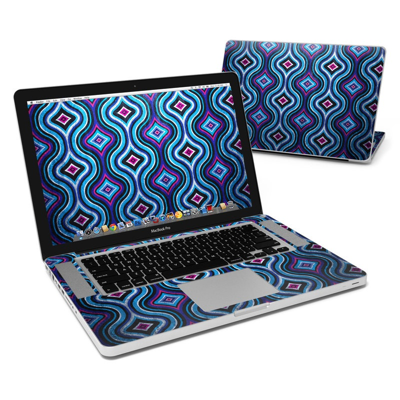 MacBook Pro Pre 2012 15-inch Skin design of Pattern, Purple, Violet, Teal, Turquoise, Aqua, Magenta, Line, Design with blue, purple, pink, white, black colors