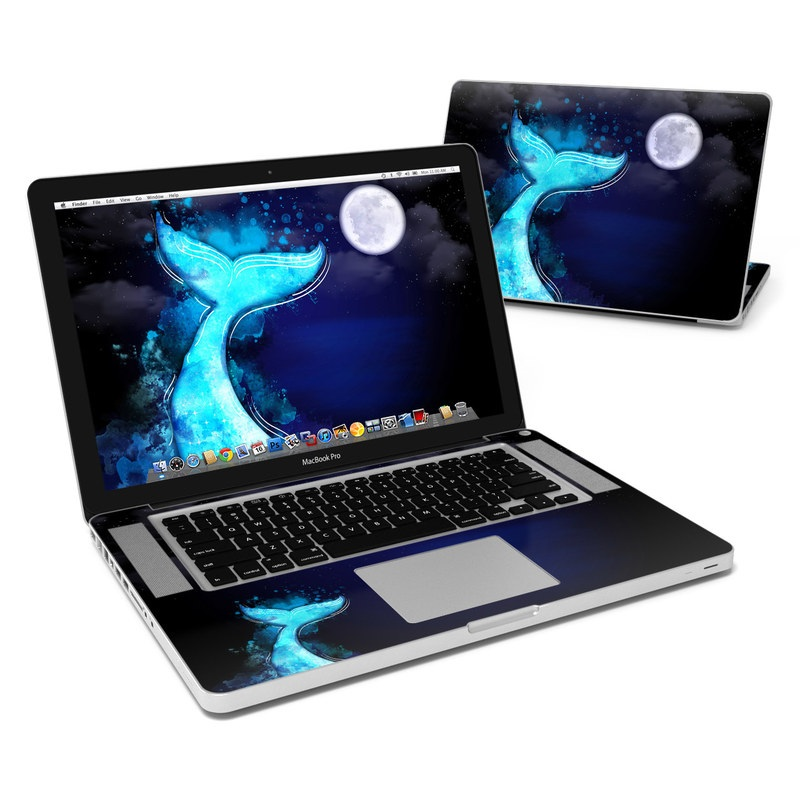 MacBook Pro Pre 2012 15-inch Skin design of Blue, Light, Moon, Water, Astronomical object, Illustration, Moonlight, Night, Atmosphere, Space with blue, white, gray, black colors