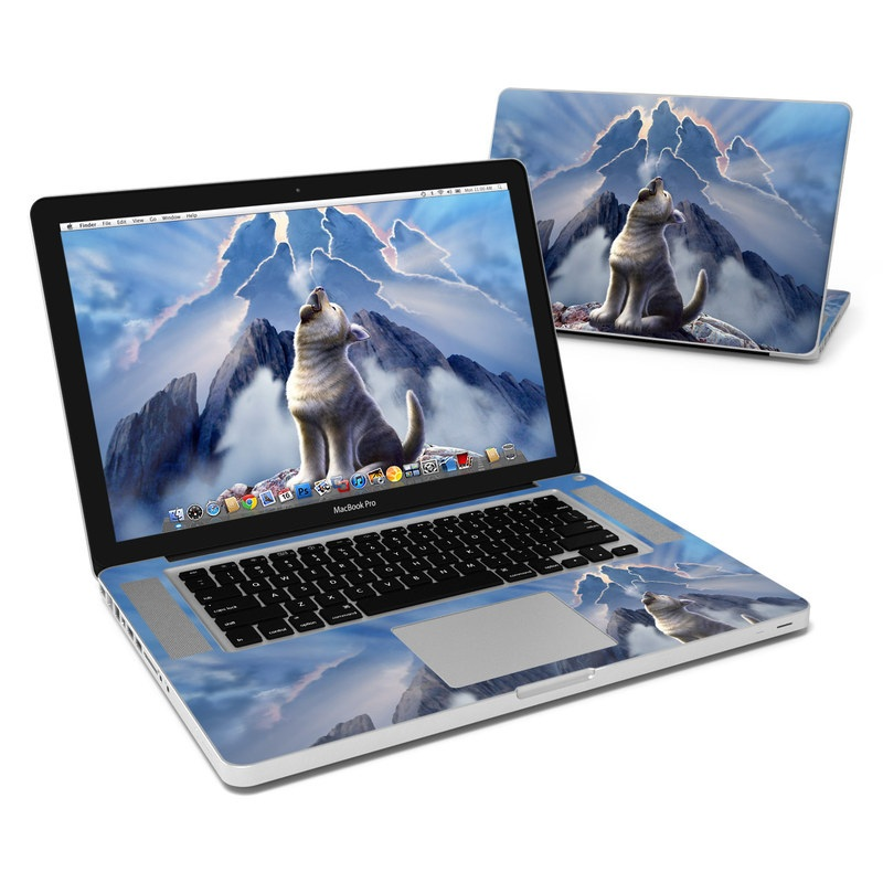 MacBook Pro Pre 2012 15-inch Skin design of Sky, Cloud, Atmosphere, Rock, Wolf, Photography, Cg artwork, Illustration, Mountain, Mythology with white, blue, gray, brown colors