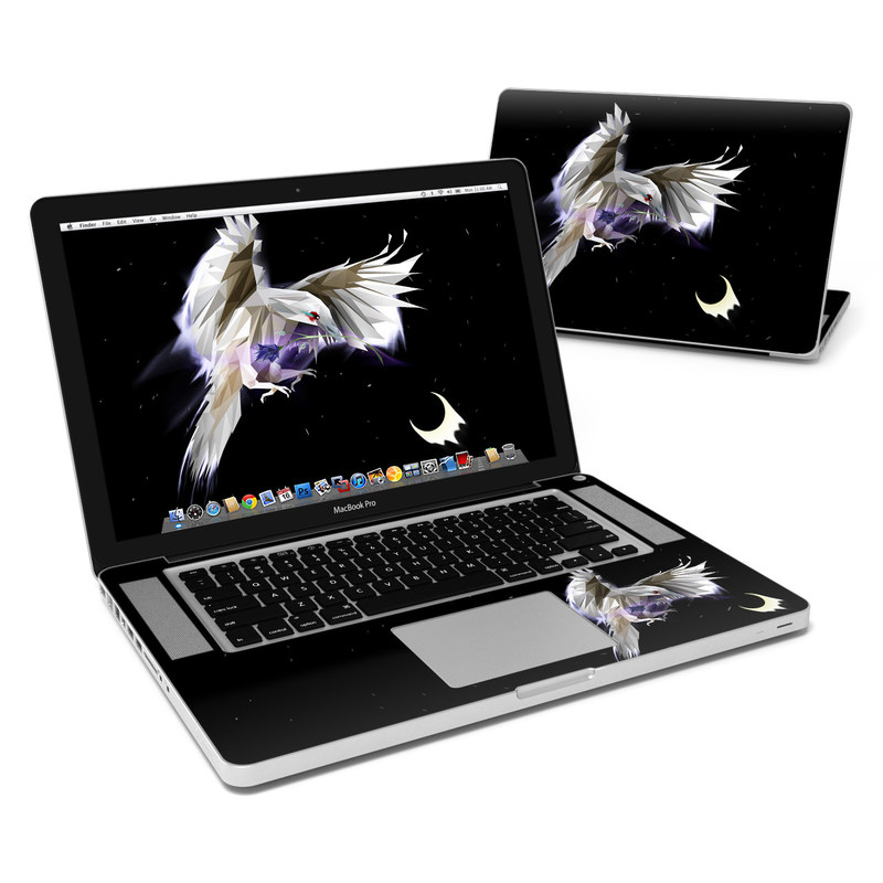MacBook Pro Pre 2012 15-inch Skin design of Wing, Anime, Sky, Darkness, Illustration, Fictional character, Cg artwork, Graphic design, Mythology, Space with black, white, purple, gray colors