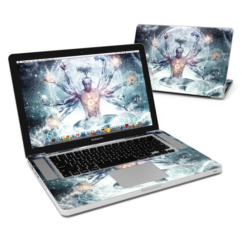MacBook Pro Pre 2012 15-inch Skin design of Mythology, Cg artwork, Water, Illustration, Fictional character, Space, Graphics, Art, Graphic design with blue, red, orange, black, white colors