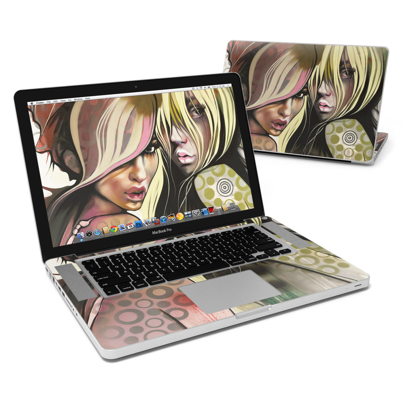 MacBook Pro Pre 2012 15-inch Skin design of Face, Illustration, Cg artwork, Anime, Cool, Art, Mouth, Fictional character, Fiction, Drawing with black, gray, green, red colors