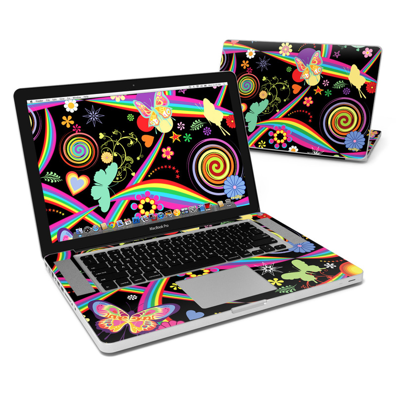 MacBook Pro Pre 2012 15-inch Skin design of Pattern, Psychedelic art, Graphic design, Art, Visual arts, Illustration, Design, Graphics, Circle, Magenta with black, purple, red, green, blue, gray colors